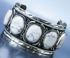 5 Stone White Buffalo Turquoise Mexican Silver Scallop Cuff Bracelet