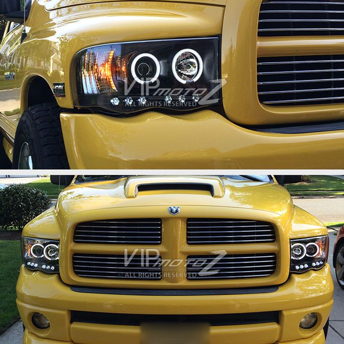 2002 2005 Dodge Ram 1500 Black Halo Led Projector Head Light 03 05 Ram 2500 3500 Dodge Ram Dodge Ram 1500 Ram 1500