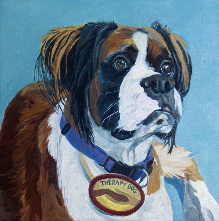 Nori The Therapy Boxer Pet Portraiture Animal Paintings Painting
