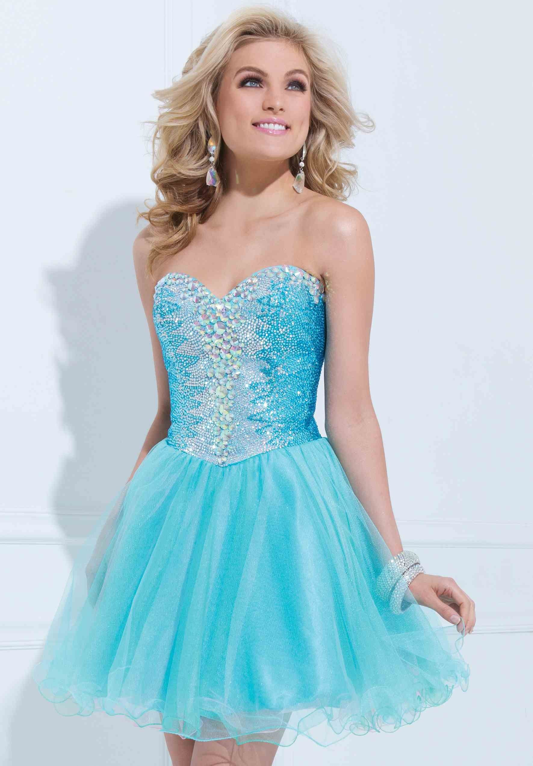 Ball Gown Short Sleeveless Blue Prom Dresses 2014 CA12270 | Blush ...