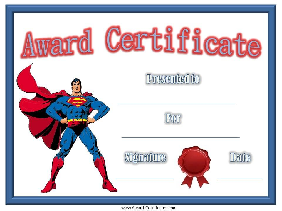 FreePrintableSuperheroTemplates  Certificates For Kids