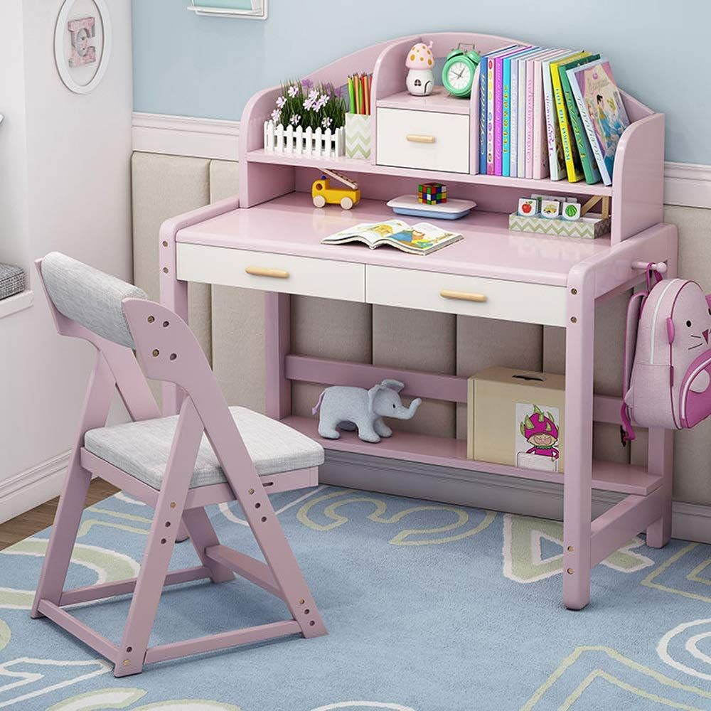 Qiupei Multi Functional Desk And Chair Set Bedroom Student Desk With Bookshelf Wooden Kids Study Desk Work Table G In 2020 Kids Study Table Kids Study Desk Study Table