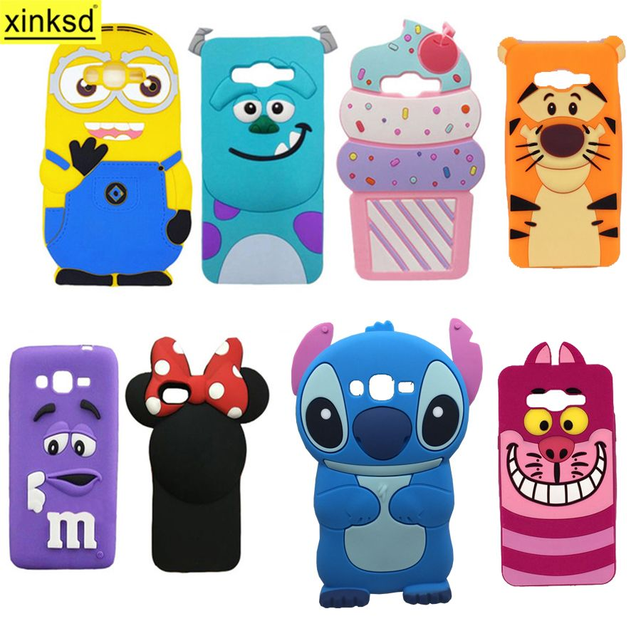 For Samsung Galaxy J2 Prime 3d Silicone Case Cartoon Minion Sulley My User Flip Cover Gold Fundas