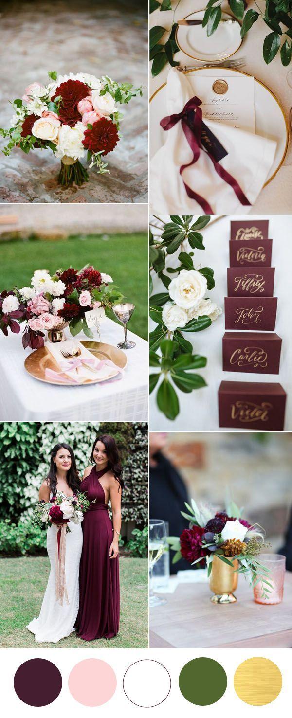 Minimalist burgundy gold and greenery garden wedding ideas for