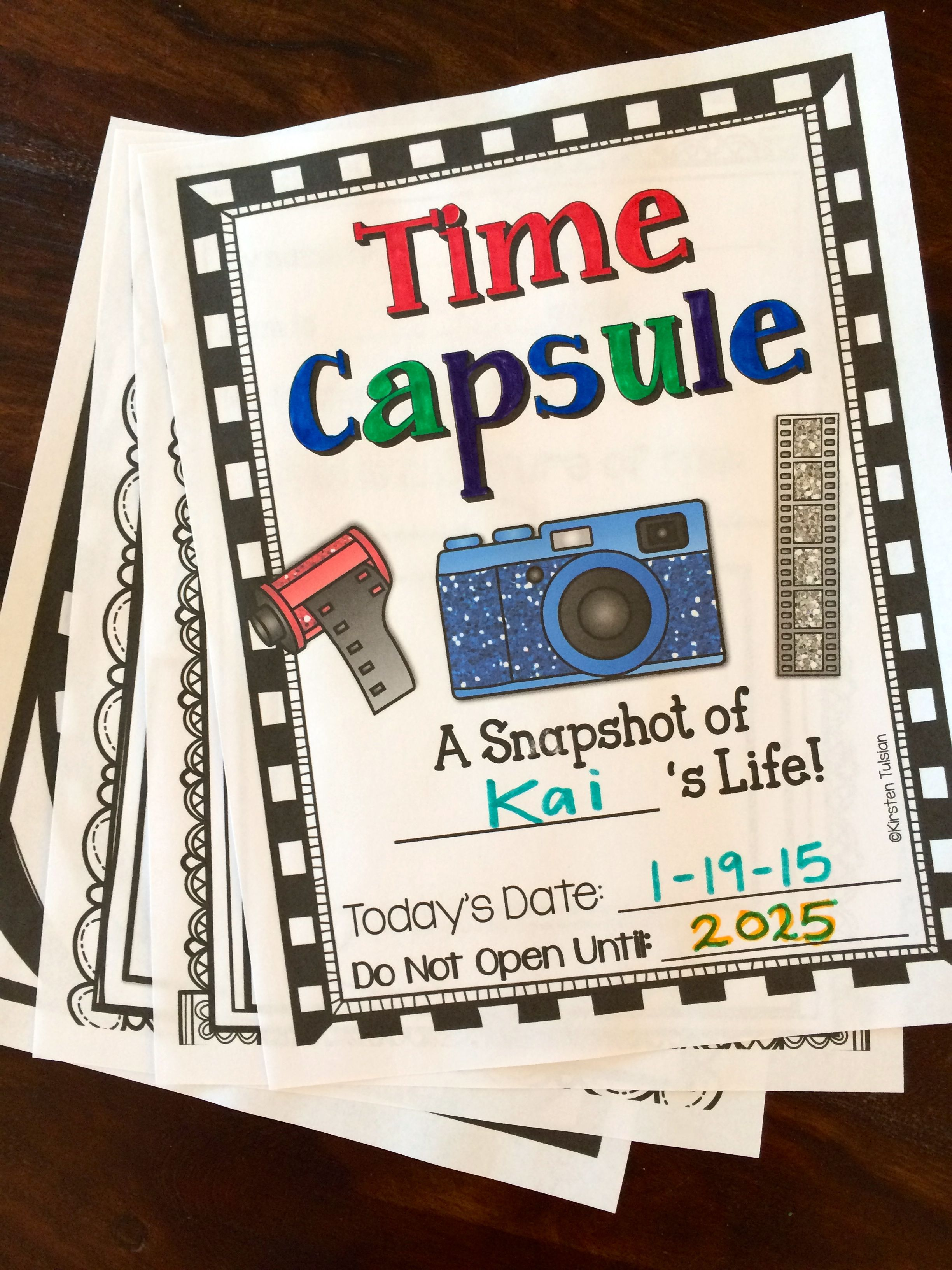 Time Capsule Writing Project