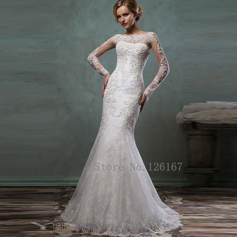 Aliexpress Com Buy Elegant Flare Sleeve Wedding Dress: Aliexpress.com : Buy Full Sleeves Mermaid Wedding Dresses