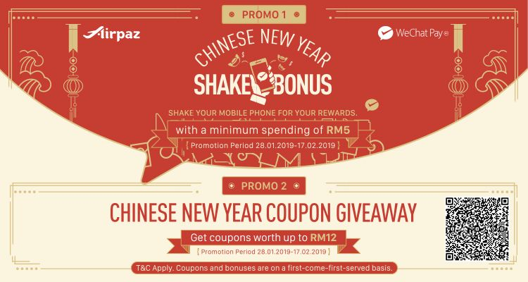 Get Chinese New Year's bonus on Airpaz via WeChat Pay! Scan