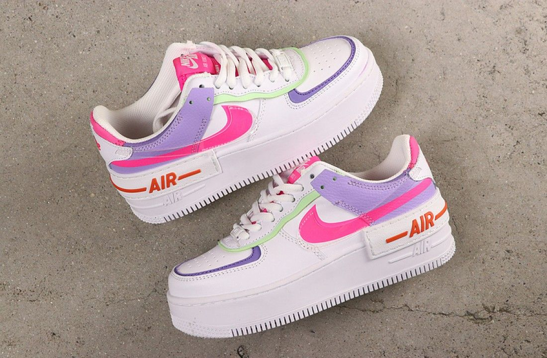 Nike Air Force 1 Double Layering Shadow White Pink Purple in