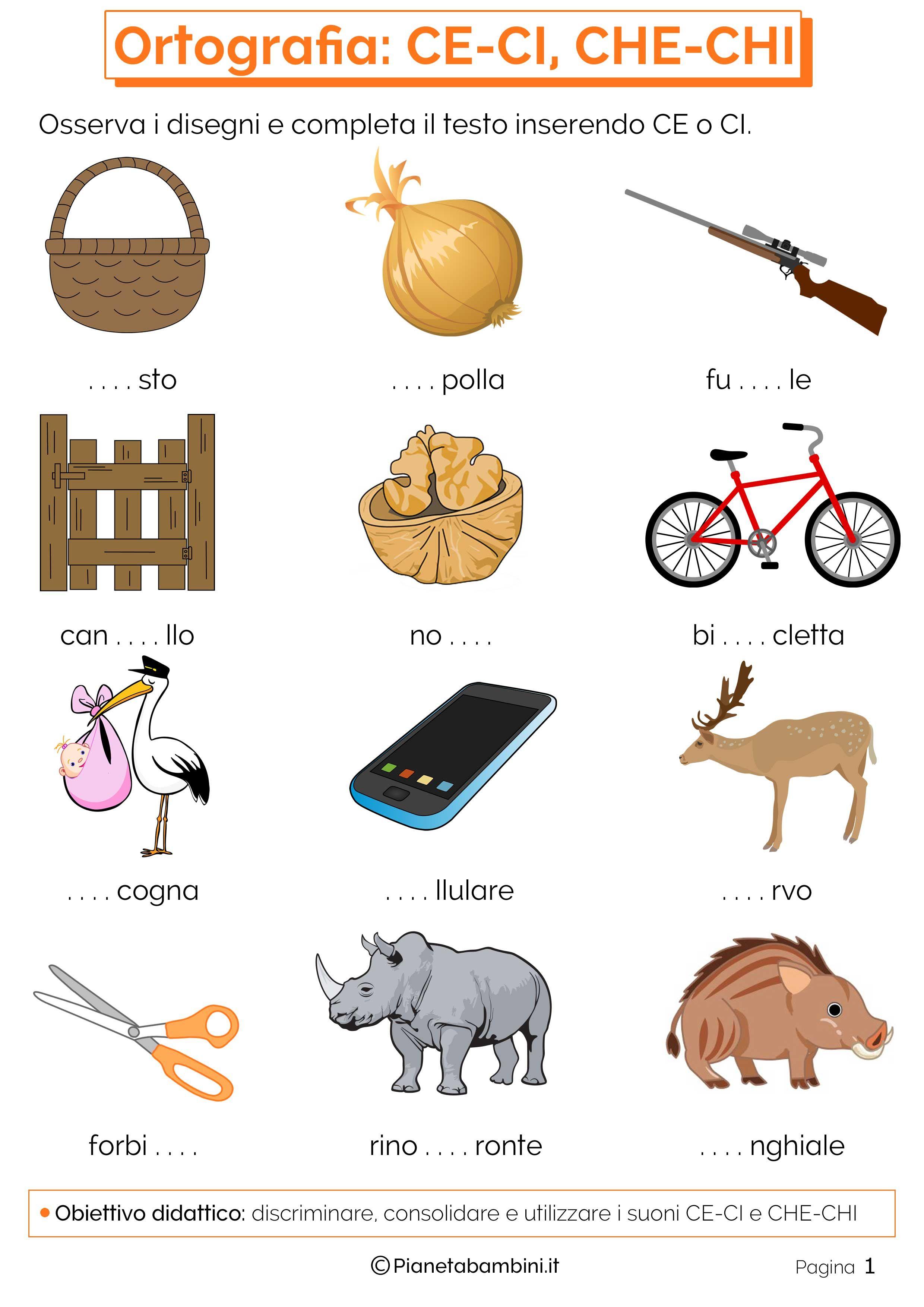 Risultati immagini per schede su ci chi ortografia pinterest searching for Parole con gi