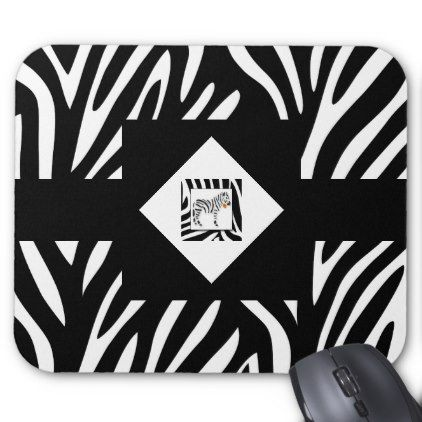 Zebra Print Jungle Safari with Watercolor Zebra Mouse Pad - black and white gifts unique special b&w style