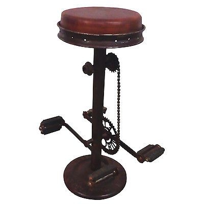 Leather Bar Stool Urban Industrial Loft Bicycle Pedal Counter Seat
