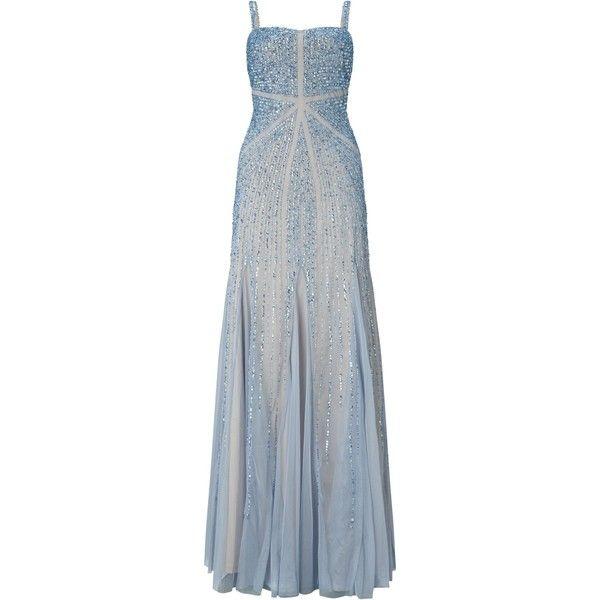 Adrianna Papell Sleeveless Fully Beaded Gown, Sky Blue ($420 ...