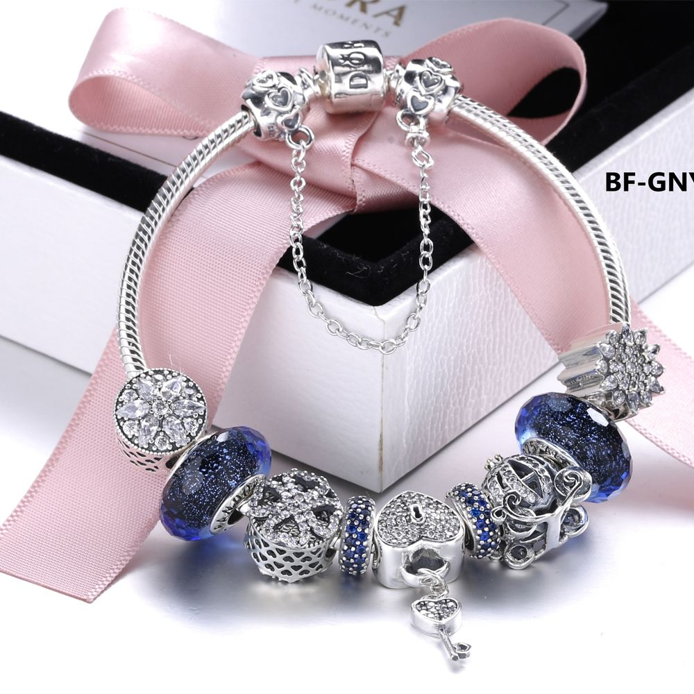 Snb beauty womenus fashion pandora bracelet silver jewelry