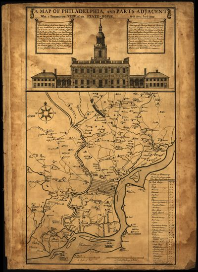 Philadelphia Pennsylvania 1752 map antique historical map
