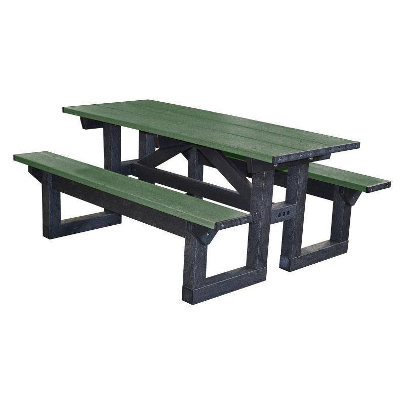 Outdoor Polly Products Tuff Step Thru Recycled Plastic Picnic Table ...