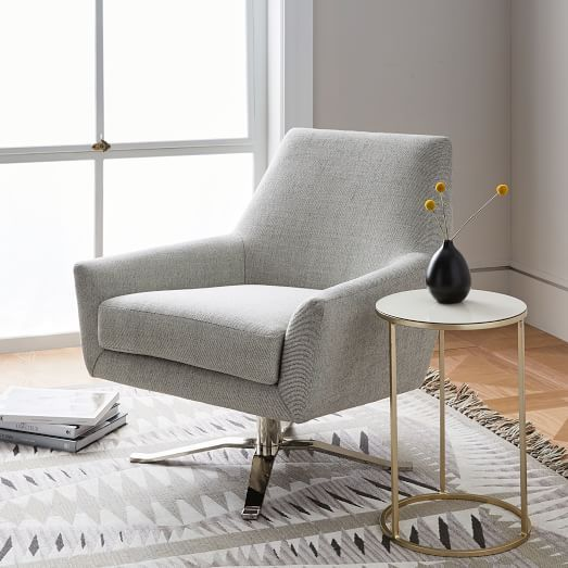 Austin Leather Swivel Armchair West Elm Fabric And Leather