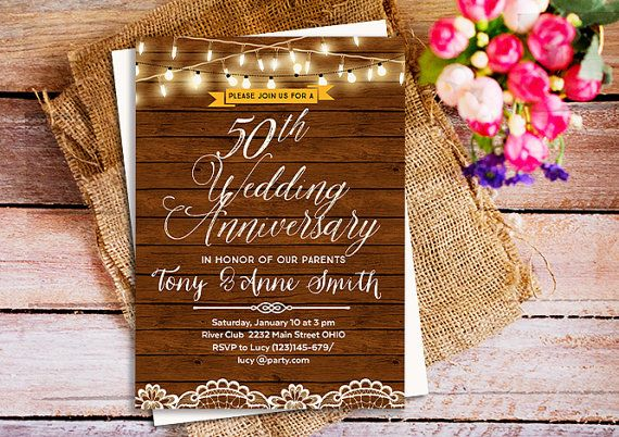 Rustic wedding anniversary invitation 25th anniversary invite 40th