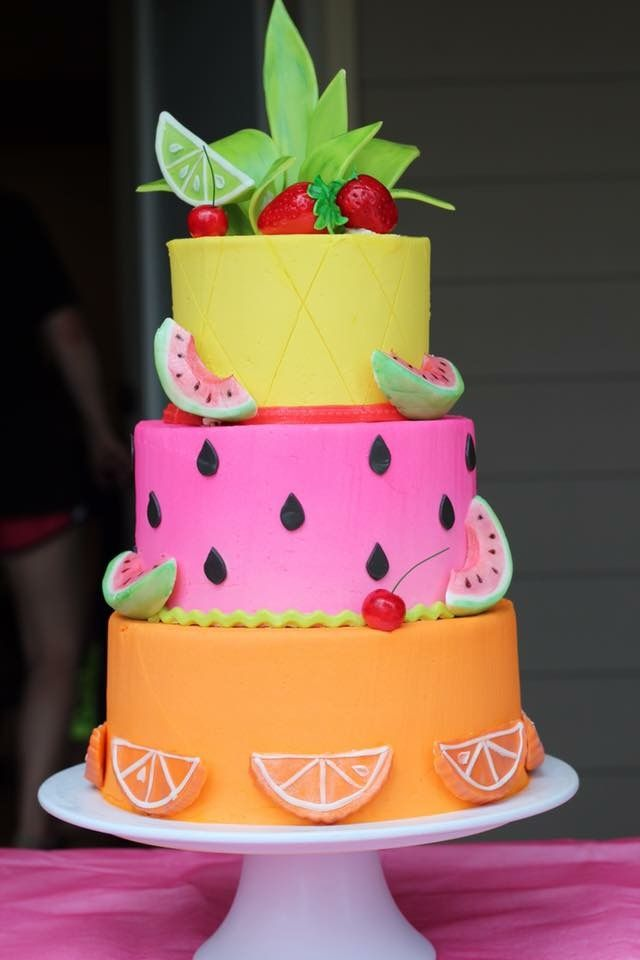 Summer Fruit Inspired Cake With Images Birthday Cake Kids
