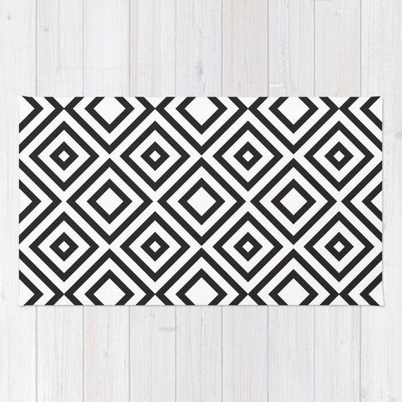 Black and White area rug geometric modern rug 2x3 3x5 4x6 area rug flat weave throw rug bold dorm decor rug bedroom rug is part of bedroom Rug Geometric - Black and White Geometic Print Rug by Huntleigh Using 100% woven polyester, these premium quality area rugs boast an exceptionally soft touch and high durability  Available in three versatile sizes (2' x 3', 3' x 5', 4' x 6') they are the perfect accent to any room in your home, featuring the design printed on a subtle chevron pattern  Machine washable; nonskid pad not included