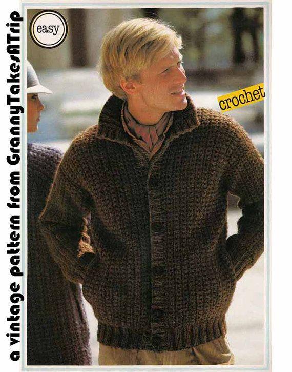 Vintage Crochet & Knit E-Pattern 1970s MANS CHUNKY JACKET/ Boyfriend Cardigan - Easy pattern, Instant Download from GrannyTakesATrip 0160
