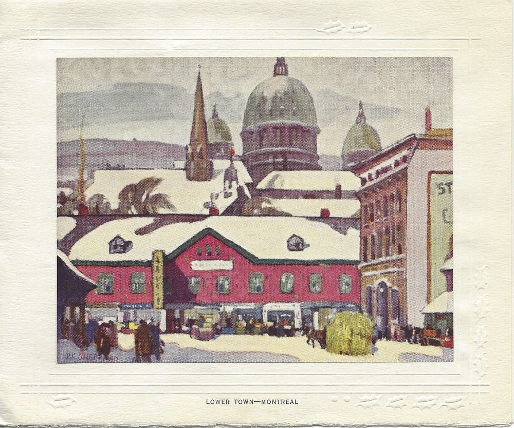 Vintage Greeting Card Christmas, Lower Town Montreal Canada Quebec, 1940s