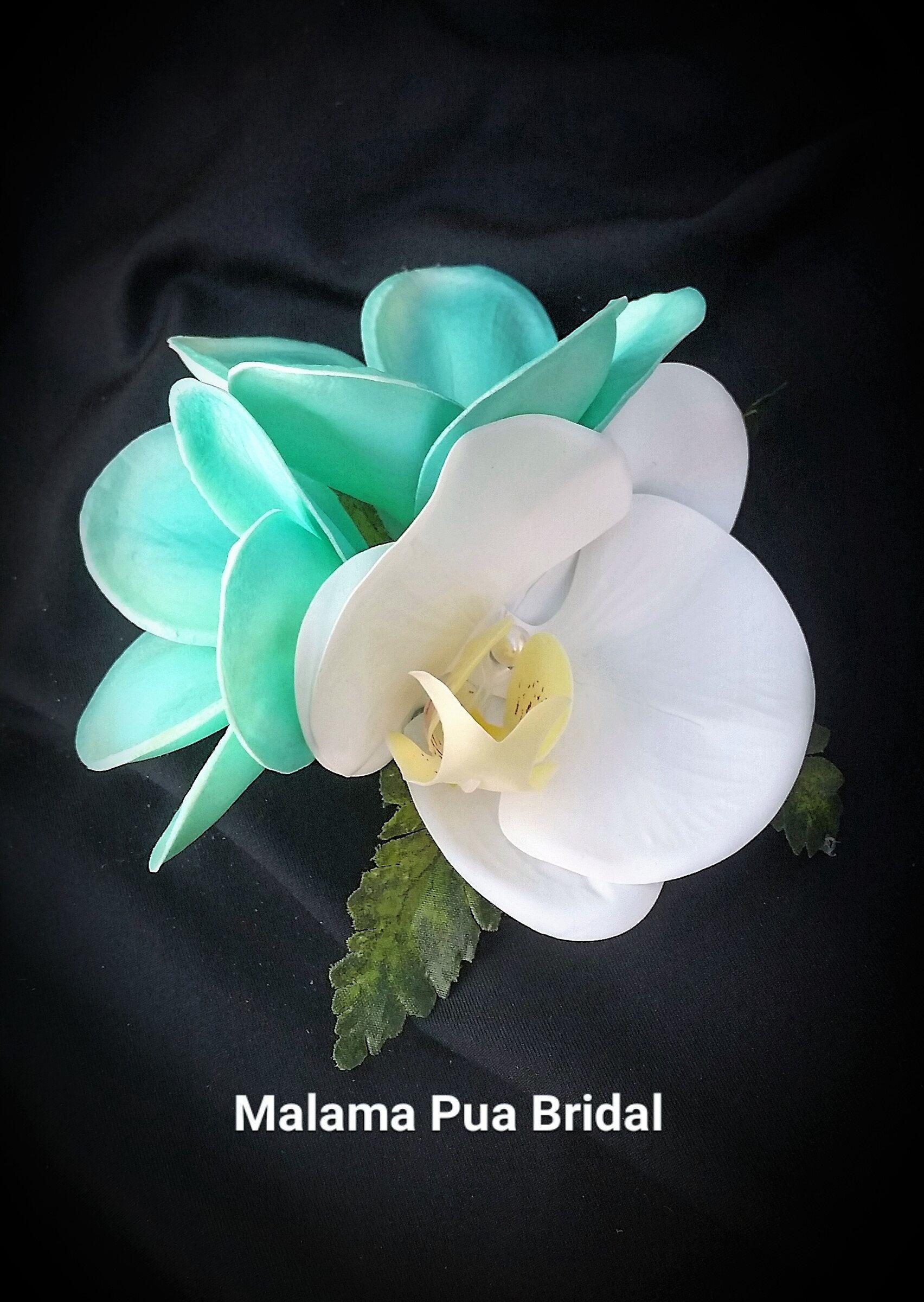 Tropical Hair Clip Hair Accessory Turquoise Plumeria Silk Orchid Wedding Headpiece Bridal Hair Clip Beach Hair Flowers Fascinator Silk Flower Hair Accessories Flowers In Hair Bridal Hair Pieces Flower