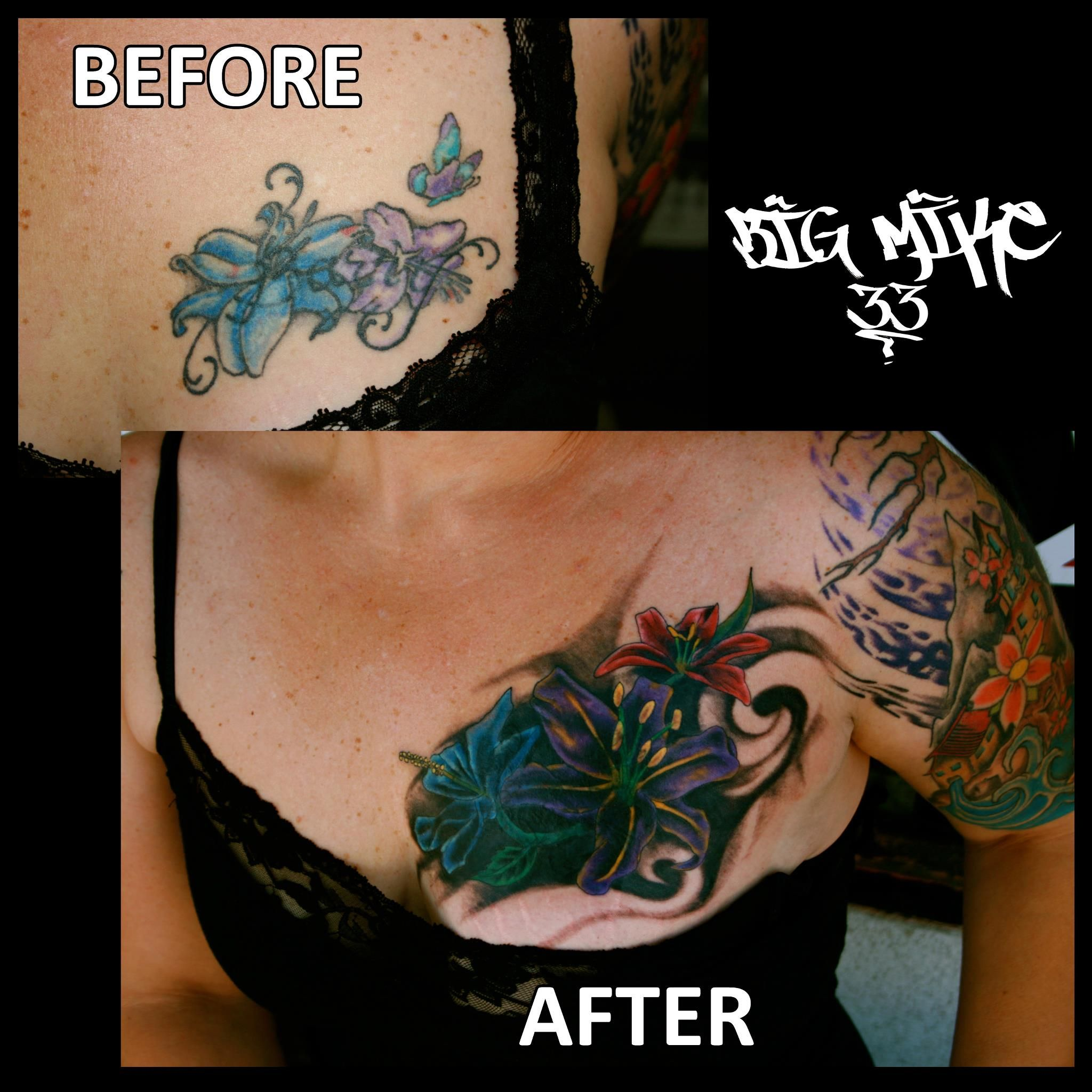 Covering A Poorly Done Cover Up After Picture Tattooed By Big