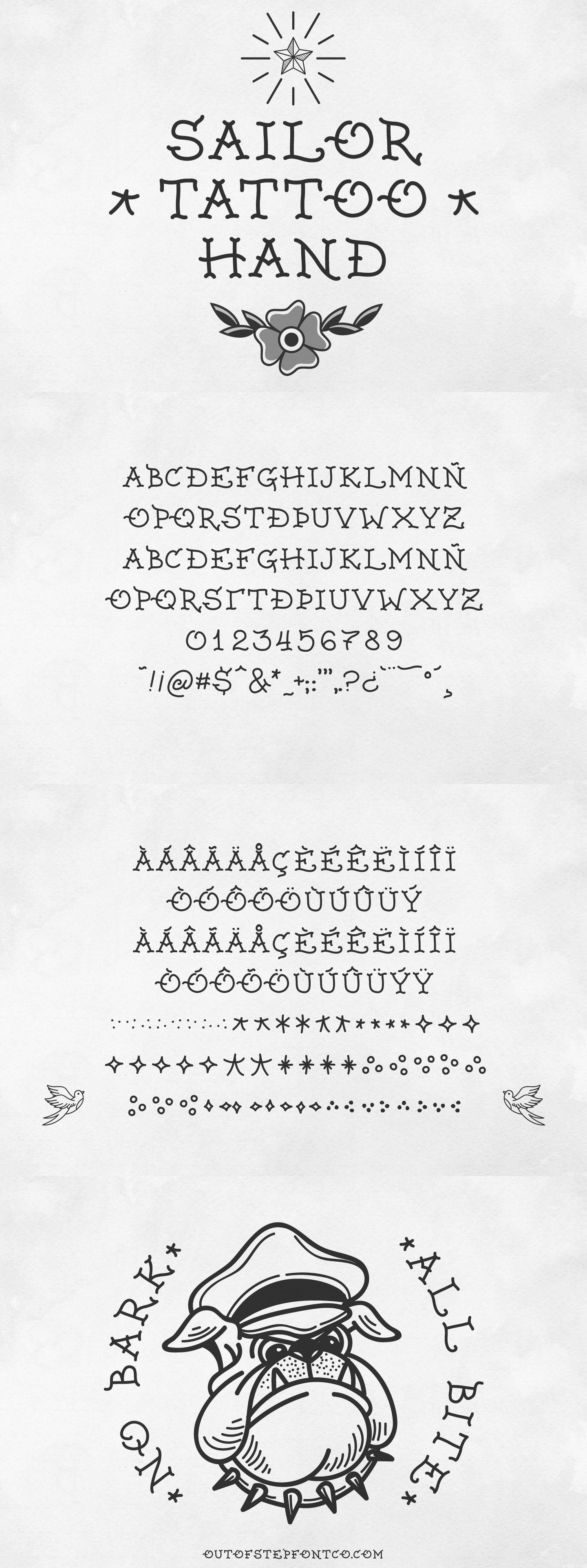 Sailor Tattoo Hand Tattoo lettering fonts, Old school