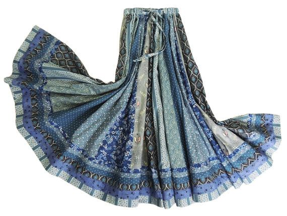 Long Panel Bohemian Patchwork Skirt by 1000Colors on Etsy