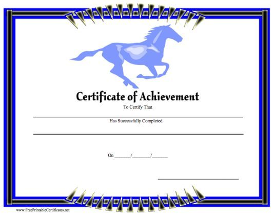 A certificate of achievement featuring a blue horse for Horseback riding lesson gift certificate template