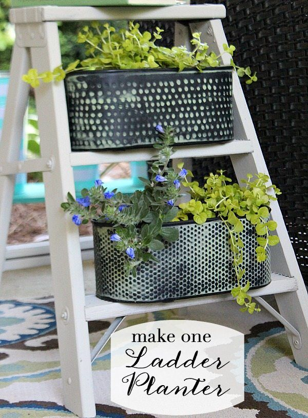 Vintage Ladder Side Table Planter, Created And Painted In One Afternoon.  Use The HomeRight Finish Max Fine Finish Sprayer To Paint.