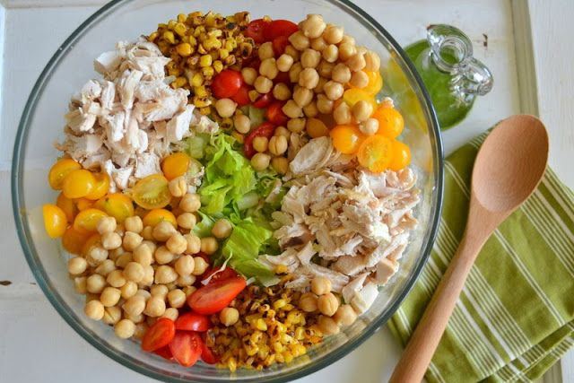 Cookin' Cowgirl: Chicken and Chickpea Chopped Salad with Cilantro Lime Dressing