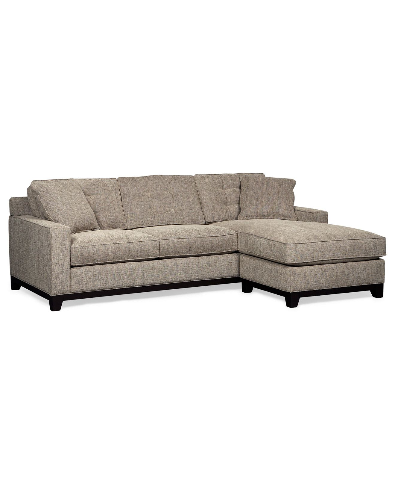 Clarke Fabric 2 Pc Chaise Sectional Queen Sleeper Sofa Bed