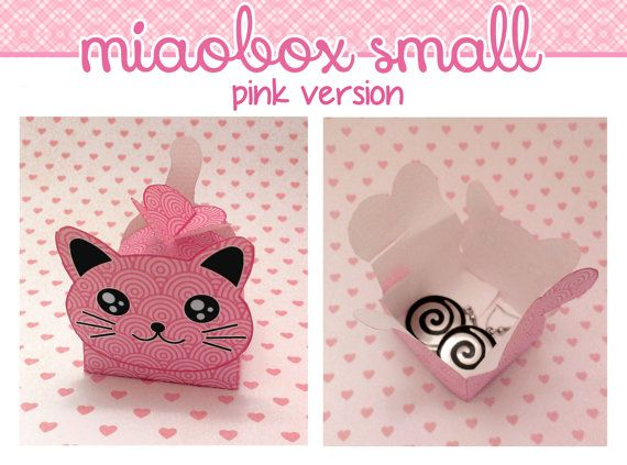 MIAOBOX printable template DIY cat gift box (small size, pink - homemade gift boxes templates