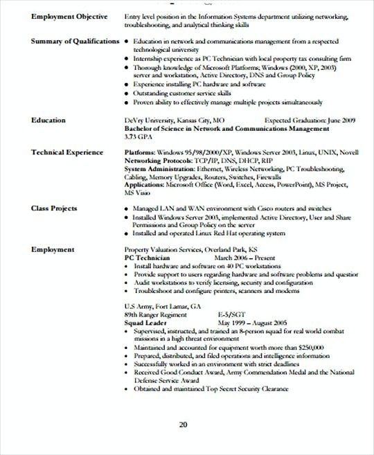 Entry Level It Networking Resume Template  It Infrastructure