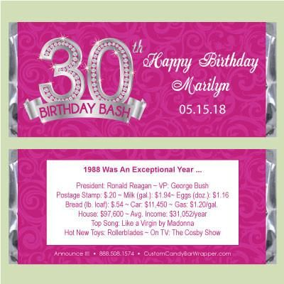 30 Adult Birthday Candy Bar Wrappers Pink Damask Personalized Party Favor