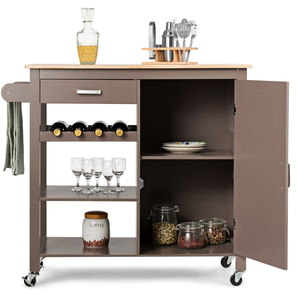 Storage Cabinet With Wine Rack Shelf