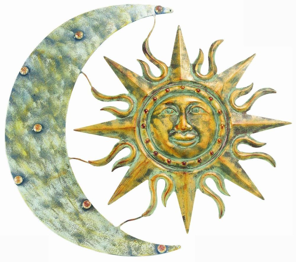 Textured Sun And Moon Wall Art Large Steel Gold Silver Bronze Aged ...