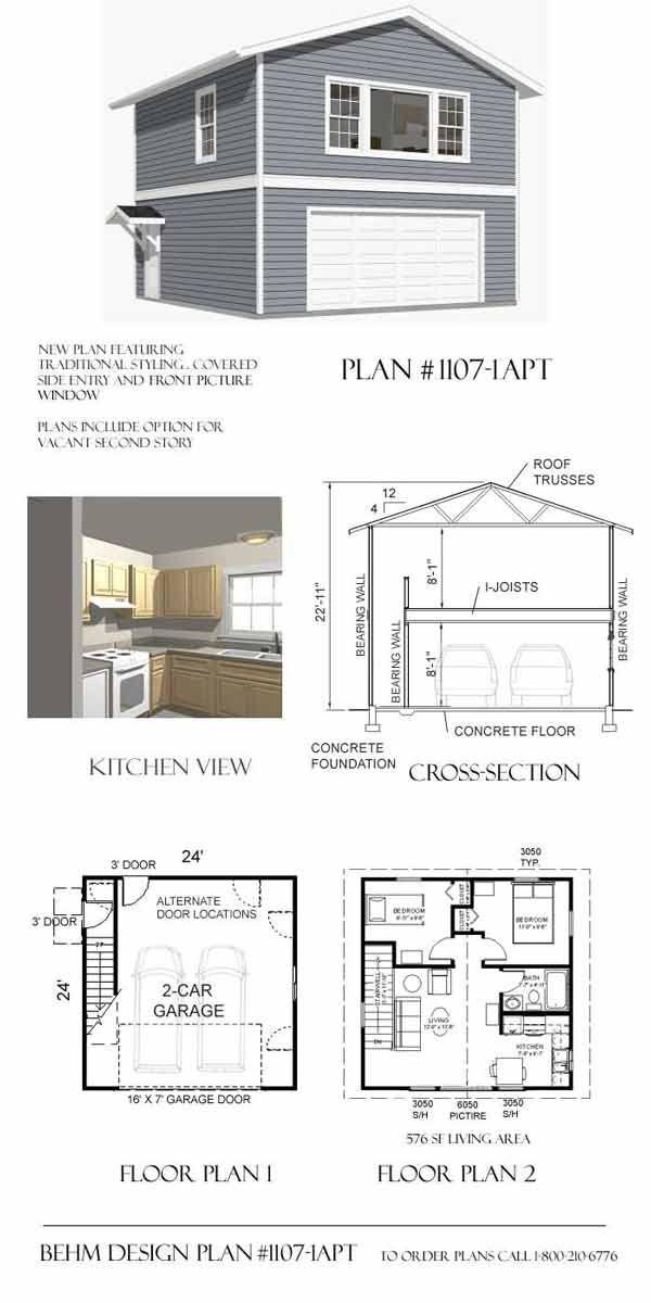 apartment_garage_plans- 1107-1APT By Behm Design Again basic only ...
