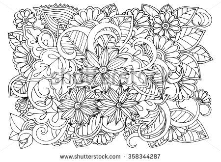 Doodle Floral Pattern In Black And White Page For Coloring Book Very Interesting And Relaxing Job For Childr Zentangle Drawings Coloring Books Flower Doodles