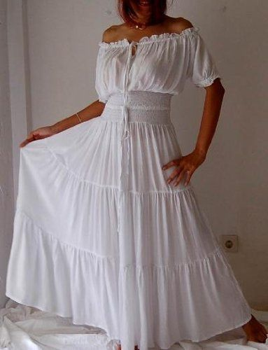 18a5092bee9 love this white peasant dress!