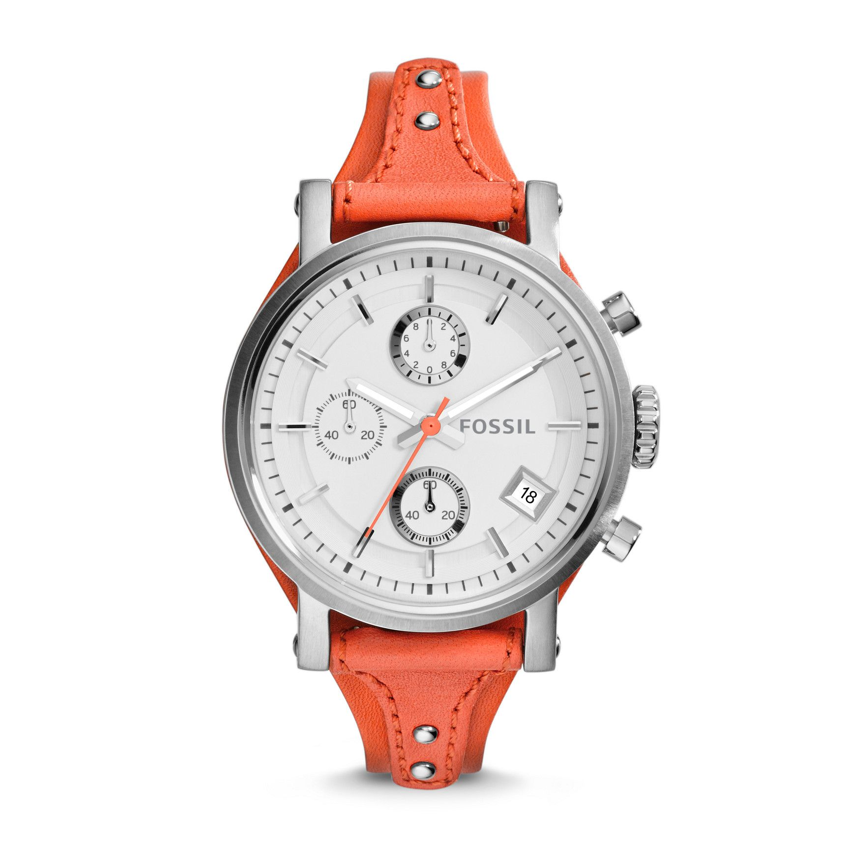 63aecd1d6f5c Fossil Original Boyfriend Chronograph Leather Watch – Monarch Red ...