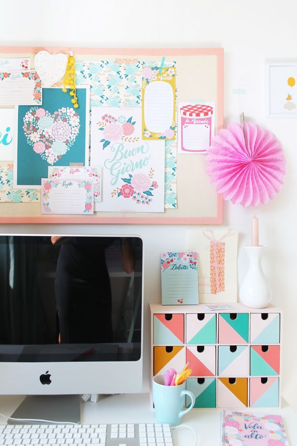 Super colorful and cute creative workspace home office Desk
