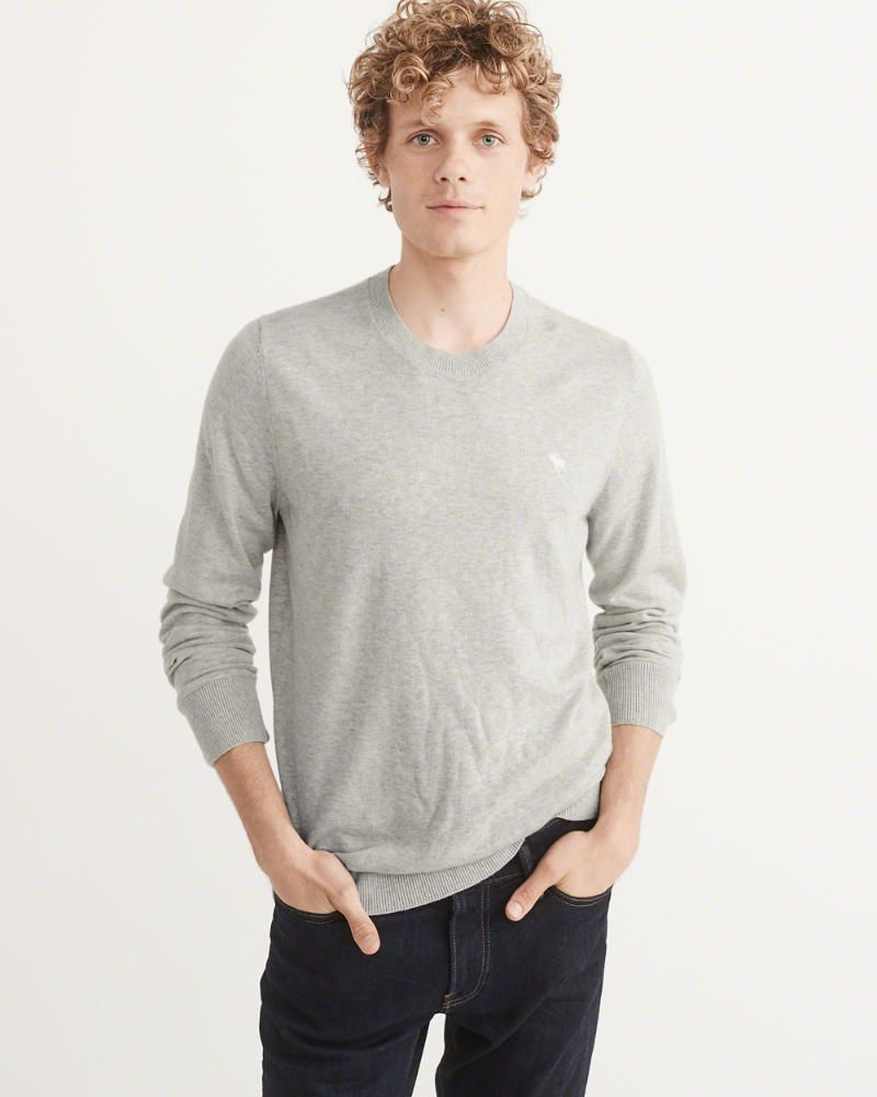 c32316885ec A&F Men's Icon Crewneck Sweater in Grey - Size XXL | Products | Men ...