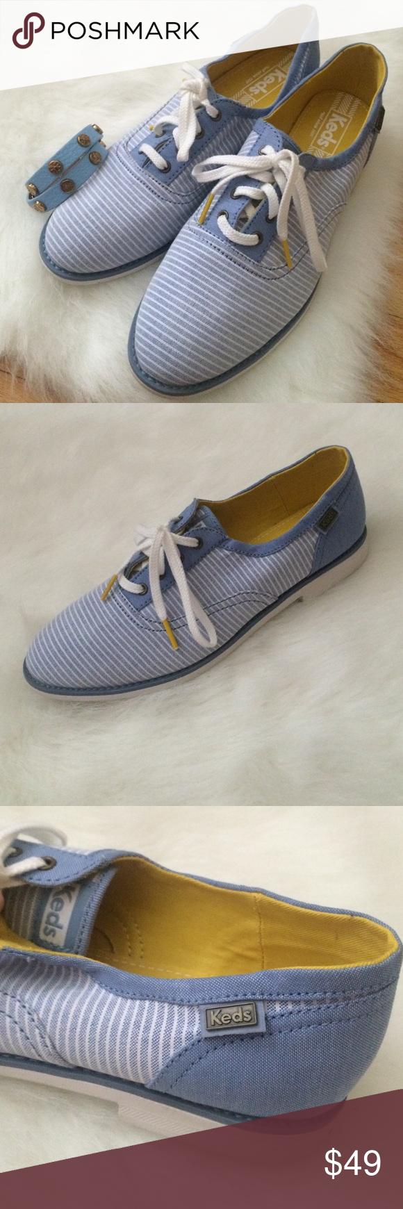 Denim Blue and White Striped Keds, Size