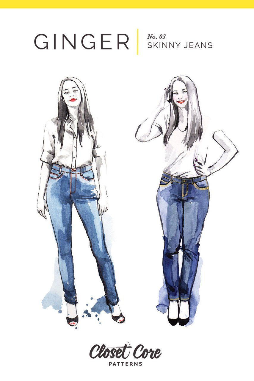 Ginger Skinny Jeans Pattern | High + Low Rise – Closet Core Patterns