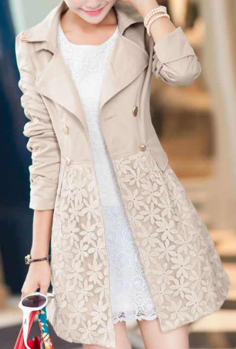 4d141757549 Double Breasted Lapel Lace Print Long Coat