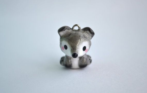 Grey Wolf Animal Charm Kawaii Polymer Clay Clay Charms