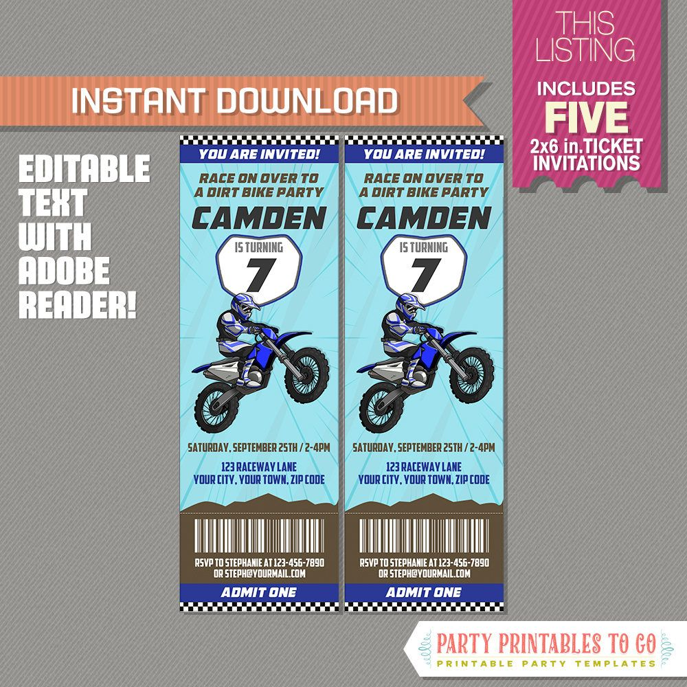 Dirt Bike Party Ticket Invitation Blue Motocross