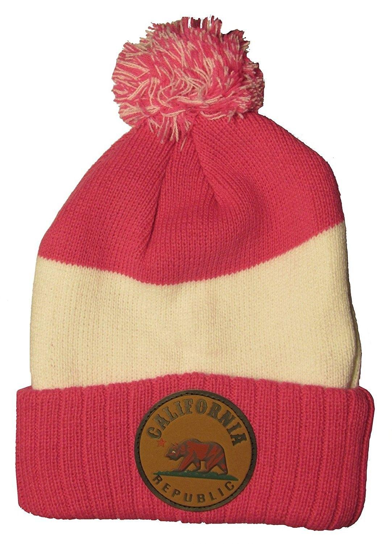 89faac803dc California Republic with Bear Striped Winter Knit Hat Pom Pom Beanie ...